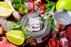 Summer alcoholic cocktail stock photos