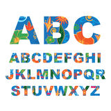 Summer alphabet, capital vector letters Royalty Free Stock Images