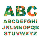 Summer alphabet, capital vector tropical letters Stock Photo