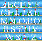 Summer Alphabet. Cute Sea Town Stock Photography