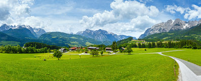 Summer Alpine country panorama (Austria) Stock Photos