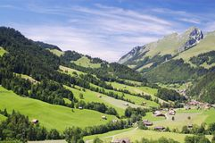 Summer alpine mountain panorama Stock Photos