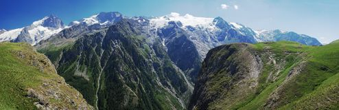 Summer alpine mountain panorama royalty free stock image