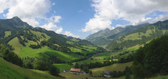 Summer alpine rural  panoramic landscape Royalty Free Stock Image