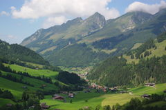 Summer alpine swiss rural landscape stock photography