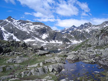 Summer in the Alps. Scenic view of a little mountain lake Royalty Free Stock Photos