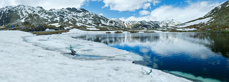 Summer Alps mountain lake panorama  (Switzerland) Stock Photos