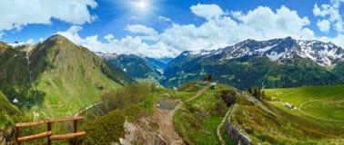 Summer Alps mountain pass panorama. Royalty Free Stock Photo