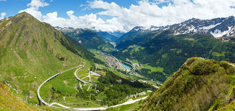 Summer Alps mountain pass panorama Royalty Free Stock Photography