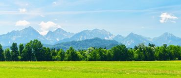 Summer Alps in sunny weather,Bavaria,Germany. Mountain view with alpine green meadow in high summer stock photos