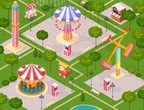 Summer Amusement Park For Children Stock Photos