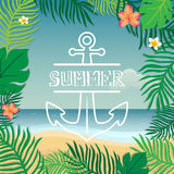 Summer and anchor. Vector summer illustration hand lettering. The leaves of palm trees and tropical flowers on a background  Stock Photos