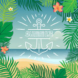 Summer and anchor. Vector summer illustration hand lettering. The leaves of palm trees and tropical flowers on a background of the Royalty Free Stock Photos