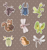 Summer animal stickers Royalty Free Stock Photos