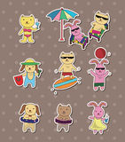Summer animal stickers Stock Photography