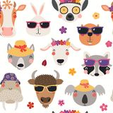 Summer animals seamless pattern royalty free stock images