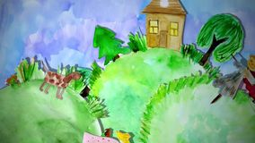 Summer animation watercolor drawing with girl, dog and scarecrow