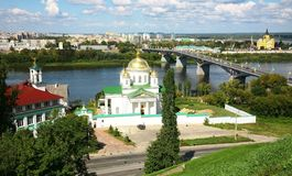 Summer Annunciation Monastery and Nevsky Cathedral Nizhny Novgor Royalty Free Stock Images