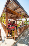 Summer arbor urban cafe in Sozopol, Bulgaria. Sozopol - ancient Bulgarian seaside town famous discoveries of ancient Slavic settlements. Located on the past in Royalty Free Stock Images