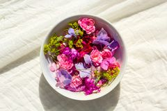 Summer, floral, artistic background with variety of petals and colors in a bowl on cream fabric. Summer, artistic background with variety of petals and colors in Royalty Free Stock Image