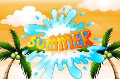 A summer artwork with coconut trees Stock Images