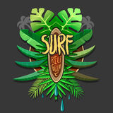 Summer artwork surf religion -  surfing print for. T-shirt with tropical palm Stock Images