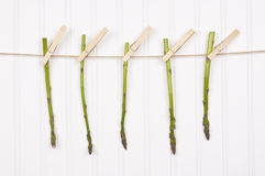 Summer Asparagus Hanging from a Clothesline Royalty Free Stock Photo
