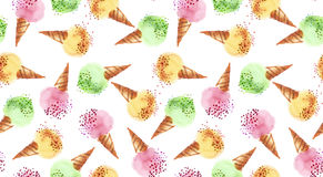 Summer assorted ice dessert color watercolor Stock Image