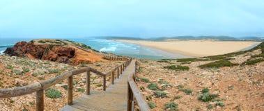 Summer Atlantic rocky coast Algarve, Portugal. Stock Photo