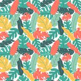 Hand drawn summer and autumn color tropical leaf hand drawing pattern seamless
