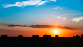 Summer Autumn Field Meadow With Hay Bales Royalty Free Stock Image