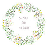 Summer and autumn frame - seasons change. Illustration Royalty Free Stock Photography