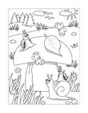 Coloring page with mushroom and snails Royalty Free Stock Image