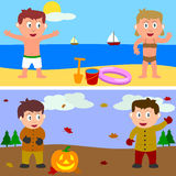 Summer & Autumn Kids Banner. Two banners with kids for summer and autumn. Eps file available Stock Photography