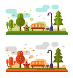 Summer and autumn landscapes. Flat design nature summer and autumn landscapes illustration, including bench in the park, lantern, leaf fall, trees and clouds Royalty Free Stock Photography