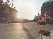 Summer-autumn in Saint Petersburg. St. Isaac`s square illuminated by the evening sun. St. Isaac`s square illuminated by the evening sun Royalty Free Stock Photos