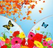Summer-autumn season change stock illustration