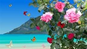 Azure coast with rose bushes and flying butterflies. Summer azure coast with rose bushes and flying butterflies vector illustration