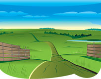 Summer backdrop. Summer Curvy Road from Fence to Skyline stock illustration