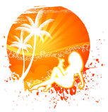 Summer backgraund with womens silhouette Royalty Free Stock Photography