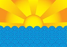 Summer Background. Abstract Background - Sun Rays above blue sea level vector illustration