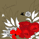 Summer background. With flowers and bird Stock Images