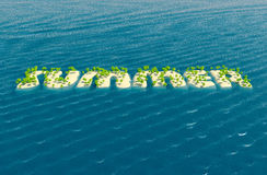 Summer background. 3d concept of islands background with palms Stock Photos