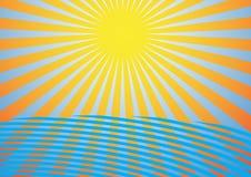 Summer Background. Sun Rays, Sky and Ocean Waves / Vector stock illustration