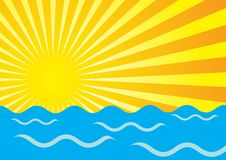 Summer Background. Abstract Background - Yellow Sun Rays And Ocean Waves / Vector royalty free illustration