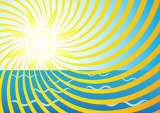 Summer Background. Sun Rays and Ocean Waves / Vector royalty free illustration