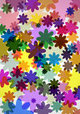 Summer background. Floral background. Multi-colored flowers of different sizes vector illustration