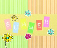Summer background. Cute colorful summer background with flowers royalty free illustration