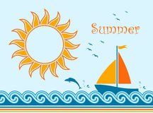 Summer background. Background with sailboat floating on sea Stock Image