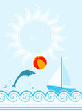 Summer background. Fish playing with beach ball and sailboat floating on sea Royalty Free Stock Photos